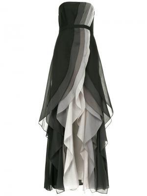 Платье с оборками и разрезом спереди Halston Heritage. Цвет: черный