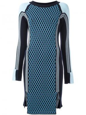 Спортивное трикотажное платье Versace. Цвет: синий