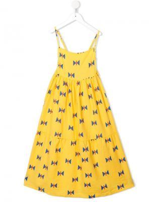 Платье с эмпирической линией талии и геометрическим узором Bobo Choses. Цвет: желтый