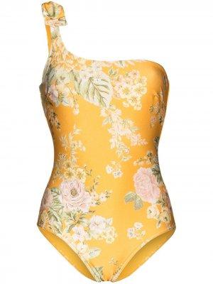 Слитный купальник Amelie на одно плечо с цветочным принтом Zimmermann. Цвет: желтый