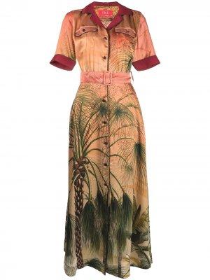 Платье-рубашка с принтом F.R.S For Restless Sleepers. Цвет: оранжевый