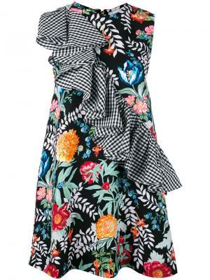 Платье-шифт с оборкой в клетку гингем House Of Holland. Цвет: черный