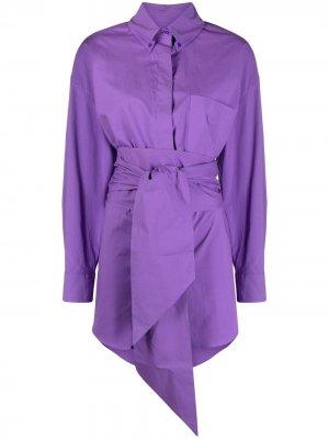Платье-рубашка с поясом Alexandre Vauthier. Цвет: фиолетовый