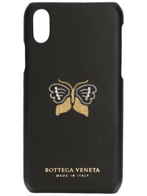 Чехол для iPhone X с декором в виде бабочки Bottega Veneta. Цвет: черный