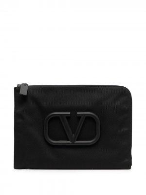 Папка для документов с логотипом VLogo Valentino Garavani. Цвет: черный