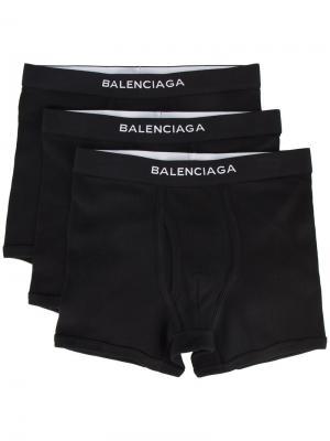 Комплект из трех боксеров Balenciaga. Цвет: черный