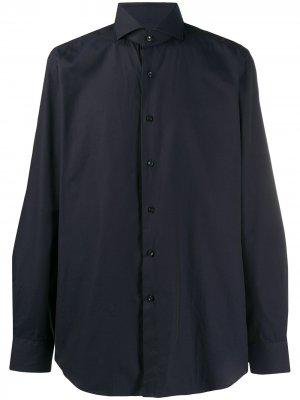 Рубашка с косым воротником Xacus. Цвет: синий