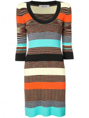 Ребристое вязаное облегающее платье Dvf Diane Von Furstenberg. Цвет: разноцветный