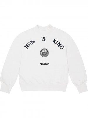 Толстовка Jesus Is King Chicago Seal Kanye West. Цвет: белый