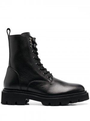Ботинки в стиле милитари на шнуровке Baldinini. Цвет: черный