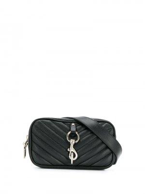 Стеганая поясная сумка Rebecca Minkoff. Цвет: черный