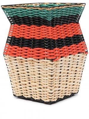 Плетеная корзина в полоску Marni Market. Цвет: оранжевый