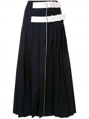 Плиссированная юбка с запахом Dice Kayek. Цвет: синий