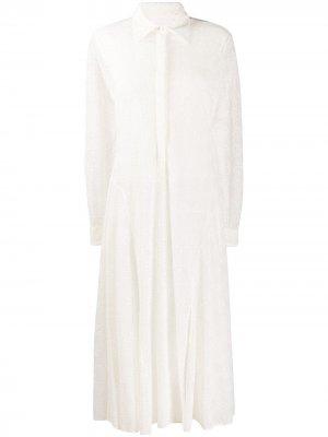 Платье-рубашка с английской вышивкой Jil Sander. Цвет: белый