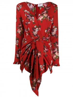 Платье-рубашка с цветочным принтом Magda Butrym. Цвет: красный