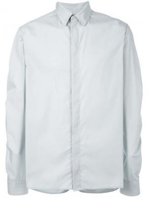 Рубашка с потайной застежкой на пуговицы Qasimi. Цвет: серый