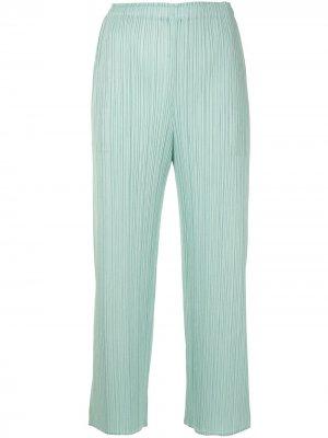 Укороченные плиссированные брюки Pleats Please Issey Miyake. Цвет: зеленый