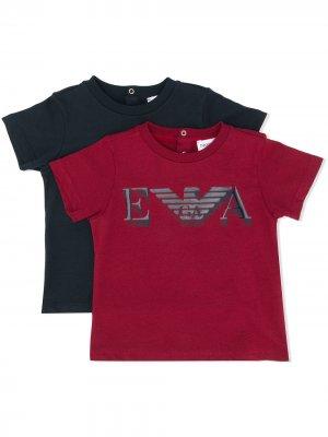 Комплект из двух футболок с логотипом Emporio Armani Kids. Цвет: черный