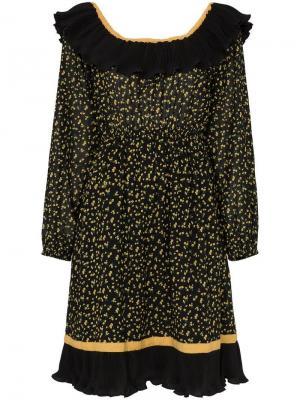Платье Bardot с оборками By Timo. Цвет: черный