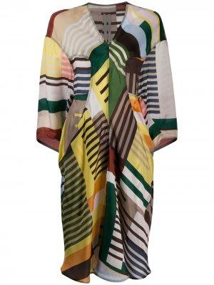 Платье-туника в полоску Rick Owens. Цвет: нейтральные цвета