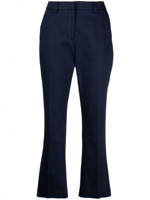 Укороченные брюки с расклешенными манжетами Pt01. Цвет: синий