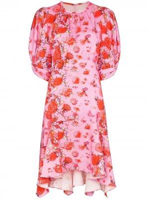 Плиссированное платье мини с цветочным принтом Peter Pilotto. Цвет: розовый