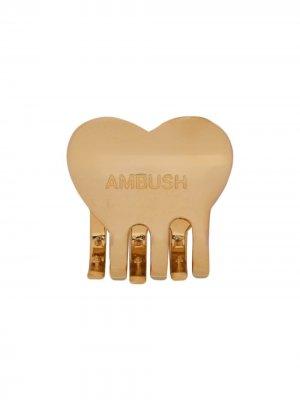 Заколка для волос с гравировкой логотипа AMBUSH. Цвет: золотистый
