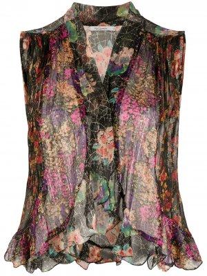 Полупрозрачная блузка с цветочным узором Mes Demoiselles. Цвет: разноцветный