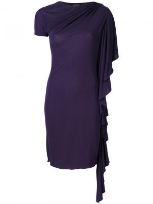Драпированное платье с рукавами оборками Jean Paul Gaultier Pre-Owned. Цвет: синий