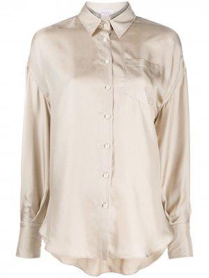 Декорированная рубашка с длинными рукавами Brunello Cucinelli. Цвет: нейтральные цвета