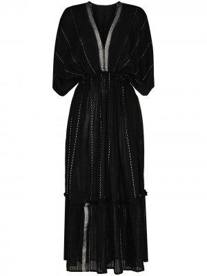 Ярусное платье миди Tikuri с V-образным вырезом lemlem. Цвет: черный