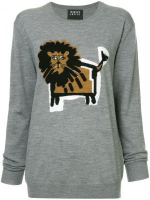 Natalie Intarsia Lion jumper Markus Lupfer. Цвет: серый